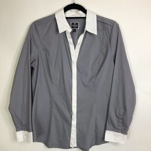 Express essential shirt Grey White Long Sleeves